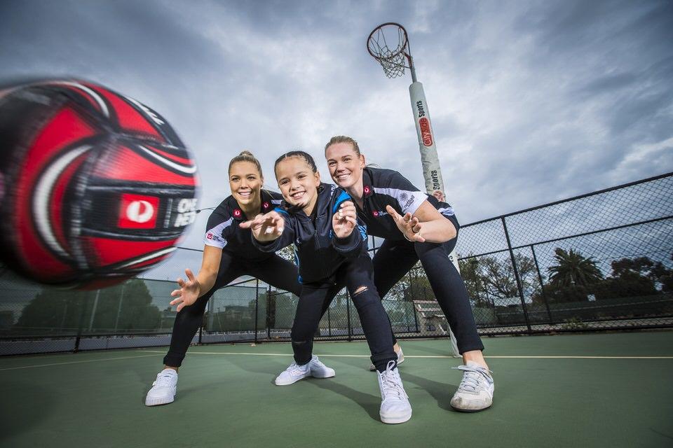 Australia Post OneNetball Kate Moloney Caitlin Thwaites with Zadia aged 8